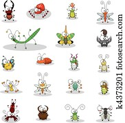 karikatur, insekten
