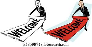 Man Rolling Out Welcome Mat