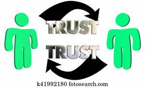 Mutual Trust Confidence People Partner Arrows 3d Illustration