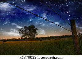 Starry Night and Farmers Fence and field