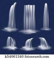 Vector realistic waterfall set
