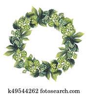 Watercolor hop wreath
