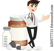 cartoon pharmacist with medicine pills and bottle
