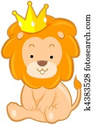 Cute Lion with Crown