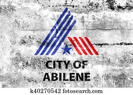 Flag of Abilene, Texas, USA, painted on dirty wall