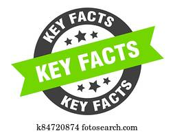key facts sign. round ribbon sticker. isolated tag