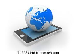 Smart phone and world globe