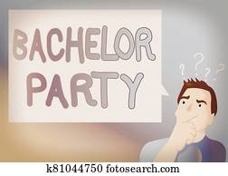 Text sign showing Bachelor Party. Conceptual photo Party given for a man who is about to get married Stag night Man Expressing Confused Hand on Mouth Question Mark icon Blank Text Bubble.