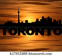 Toronto skyline reflected with text and sunset illustration