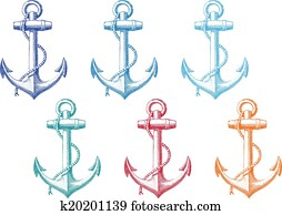 vintage anchor with rope, vector