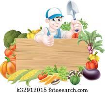 karikatur, gemüse, gartenbauer, zeichen