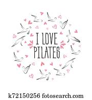 Pilates poses in shape of a circle. Ideal for greeting cards, wall decor, textile design and much more.