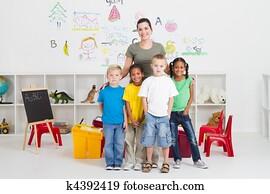 preschool kids and teacher