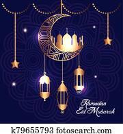 ramadan kareem poster with moon and lanterns hanging