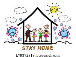 stickman family stay at home