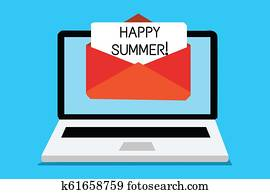 Text sign showing Happy Summer. Conceptual photo Beaches Sunshine Relaxation Warm Sunny Season Solstice Computer receiving email important message envelope with paper virtual.