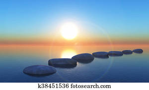 3D stepping stones in the ocean at sunset