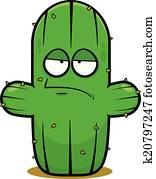 Cartoon Cactus Bored