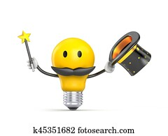 Character light bulb dressed as wizard. 3d illustration