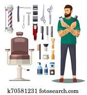 friseursalon, oder, friseur, salon, heiligenbilder, accessoirs