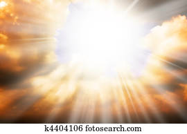 Heaven religion concept - sun rays and sky