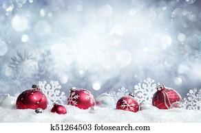 Christmas Card - Red Baubles And Snowflakes With Snowfall