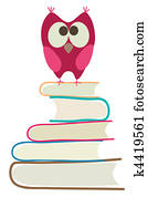 cute owl and books