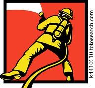 Firefighter or fireman aiming a fire