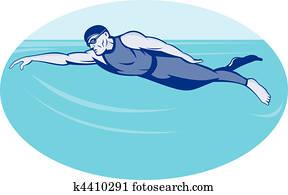Triathlon athlete swimming freestyle
