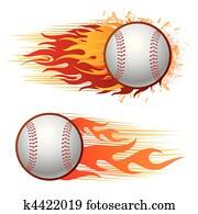 baseball, mit, feuerflammen