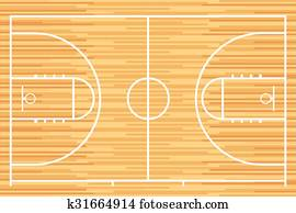 Basketball court with parquet wood