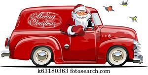Cartoon retro Christmas van with Santa Claus