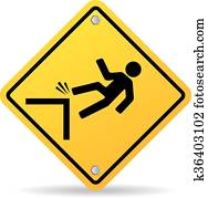 Danger cliff sign