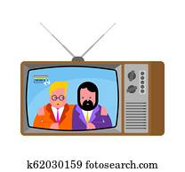 Gay news old television. LGBT TV. Two Guys broadcasting journalist. Homosexual Anchorman in tv studio. Live broadcasting.
