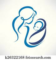 mother and baby outlined symbol