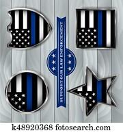 Police Support Flag Badge Illustration