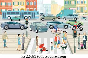 Road traffic in the city, illustration.eps