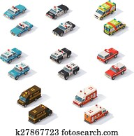 Vector isometric emergency services cars set