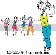 zumba dancers group illustration A