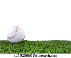 3d Baseball on grass