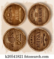 Casks with alcohol drinks