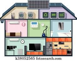 Energy efficient house cutaway