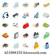Homeward icons set, isometric style