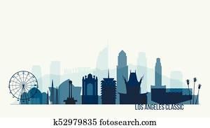 Los Angeles skyline buildings vector illustration