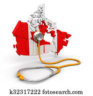 Map of Canada with Stethoscope