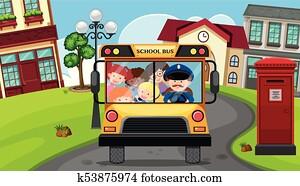 Children riding on schoolbus in neighborhood