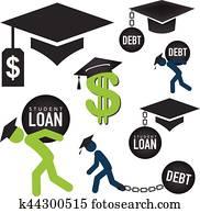 doktorand, darlehen, heiligenbilder, -, student darlehen, grafik, für, bildung, finanzielle hilfe, oder, hilfe, regierung, darlehen, und, schuld