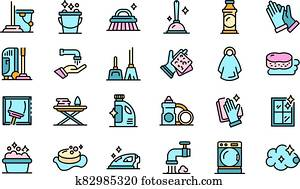 Housekeeping icons vector flat