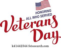 November 11 Veterans Day. Lettering text