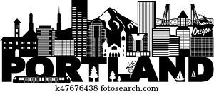 Portland Oregon Skyline and Text Black and White Illustration